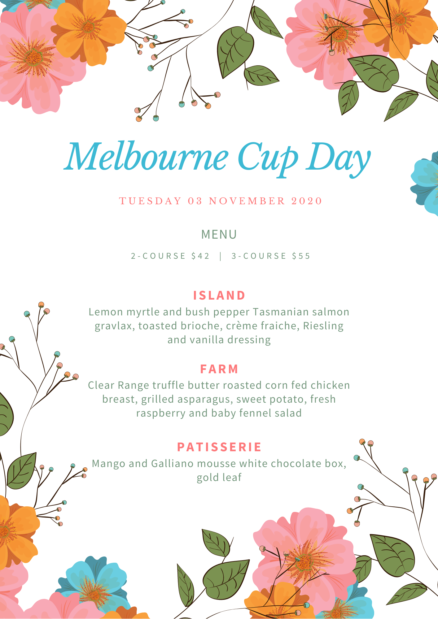Melbourne Cup Day - 3-Course
