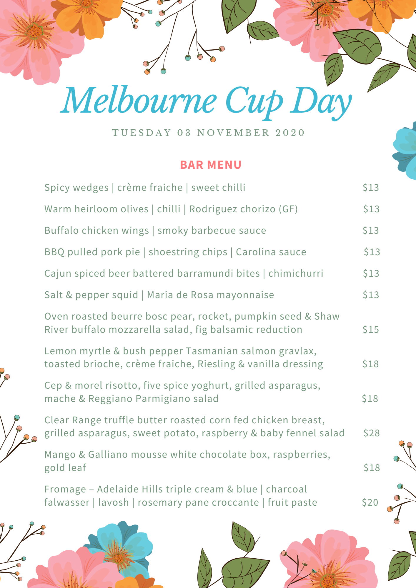 Melbourne Cup Day - Bar Menu